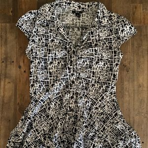 Black and White Retro Ruffle Dress- BCX